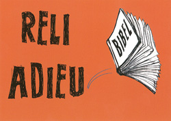 Postkarte 'Reli Adieu'